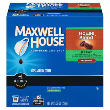 Maxwell House House Blend, Medium, Decaffeinated K-Cups (108 ct.)