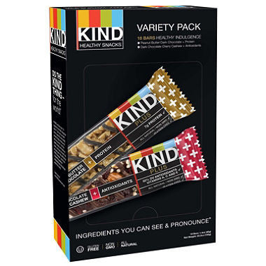 KIND Plus Bars, Variety Pack (1.4 oz. bars,18 ct.)