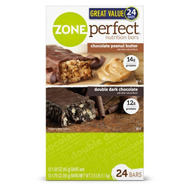 ZonePerfect Nutrition Bars, Chocolate Peanut Butter & Double Dark Chocolate (24 ct.)