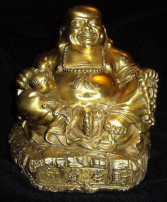 Brass Seated Buddha Statue Wealth Feng Shui Budda Budha Buhda Secret to Wealth