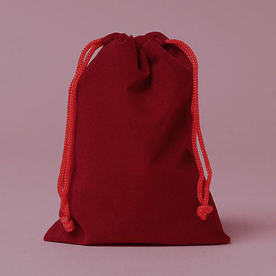 12 Velour Gift Bags Sacks Pouches Assorted Blue, Red and Burgundy 4 x 5.5 inches