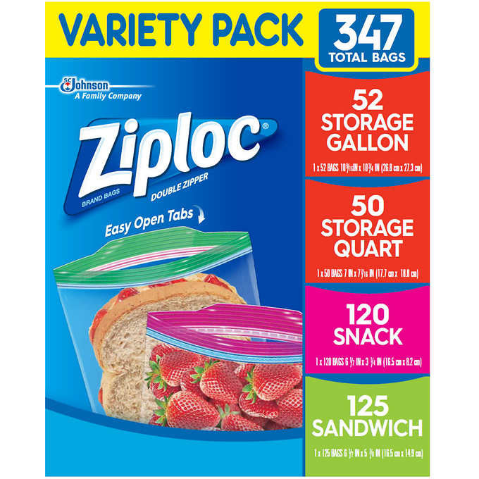 Ziploc Variety Pack, 52 Storage Gallon, 50 Storage Quart, 125 Sandwich, 120 Snack, 347 Bags Total
