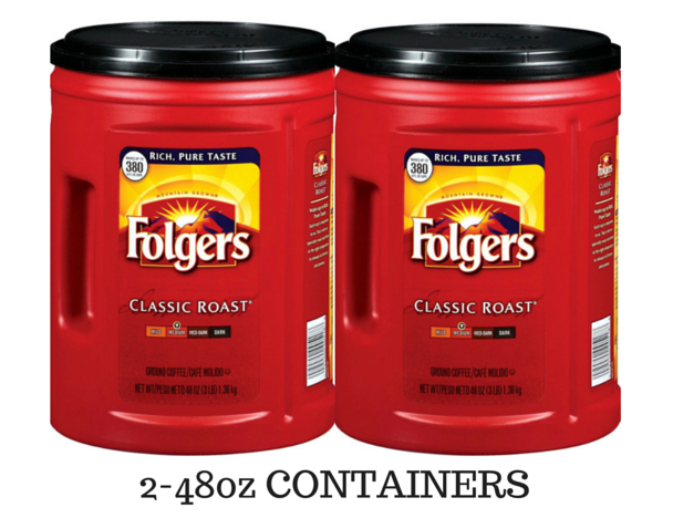 2 PACK Folgers Classic Roast Ground Coffee (48 oz.)