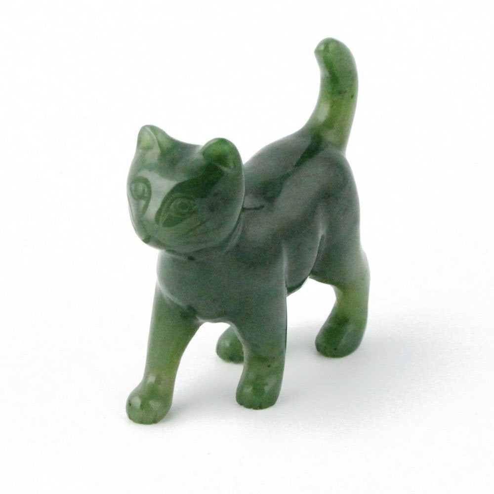 Nephrite Jade Cat Walking Carving - 2 Inch