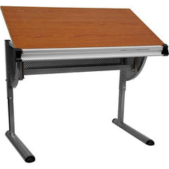 Adjustable Drawing And Drafting Table With Pewter Frame
