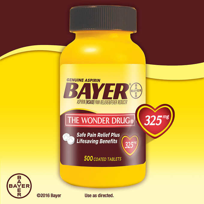 Genuine Bayer Aspirin, 325 mg., 500 Coated Tablets