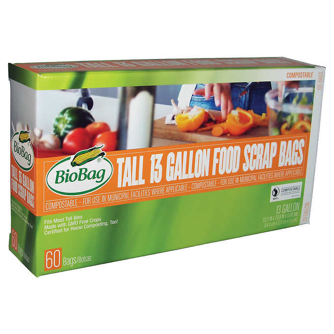 BioBag Compostable 13 Gallon Food Scraps Bag 60 Count