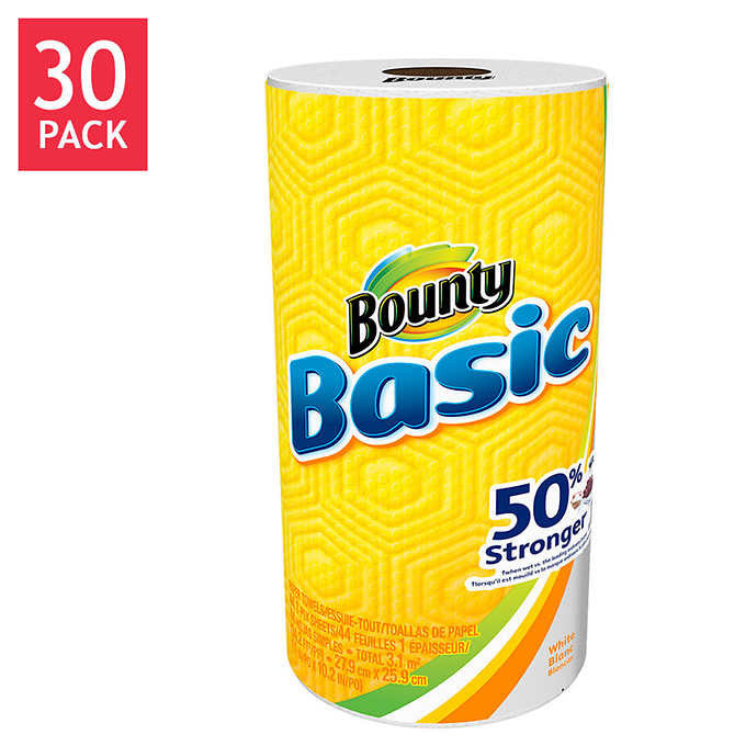 Bounty Basic Paper Towel Rolls 1-Ply White 30ct