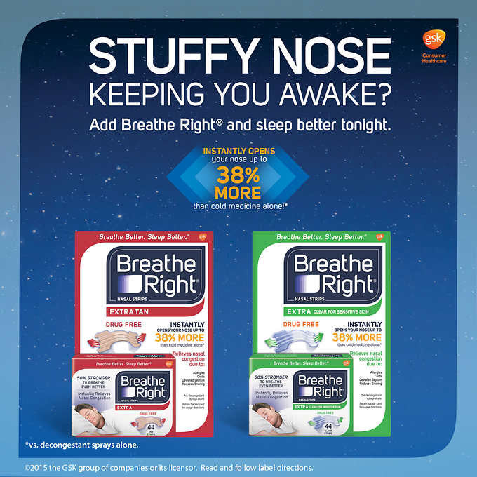 Breathe Right EXTRA Nasal Strips, 44 Count (Choose Color)