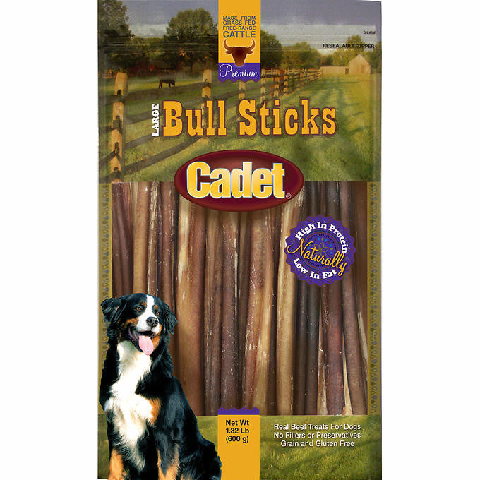 Cadet Premium Large Bull Sticks for Dogs - 1.32 lb. Bag