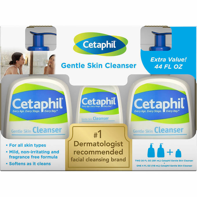 Cetaphil Gentle Skin Cleanser 20 oz., 2-pack, + 4 oz. Bonus