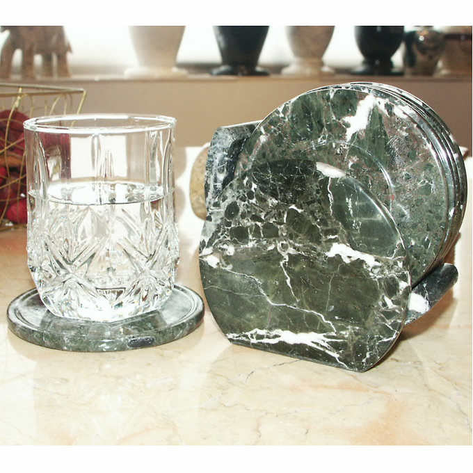 Marble Products International Coaster Set with Holder
