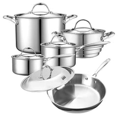 Cooks Standard Tri-Ply Clad Stainless Steel 10-pc Cookware Set