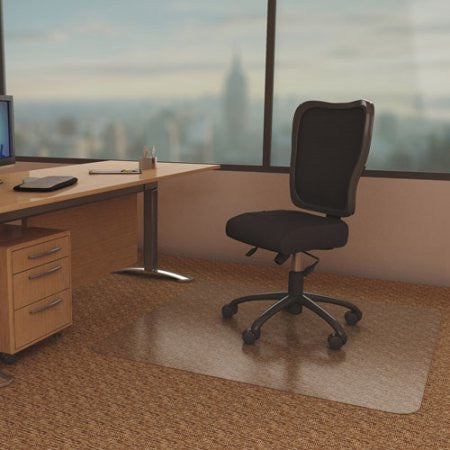 "Deflecto 45"" x 60"" DuraMat Moderate-Use Chair Mat for Low Pile Carpet, with Lip, Clear"