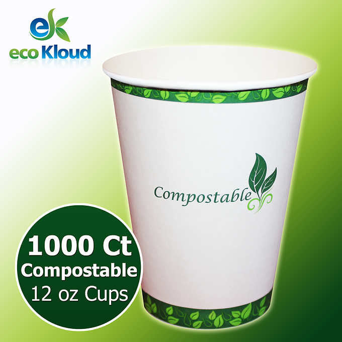 Eco Kloud 12 oz Compostable PLA Paper Cups