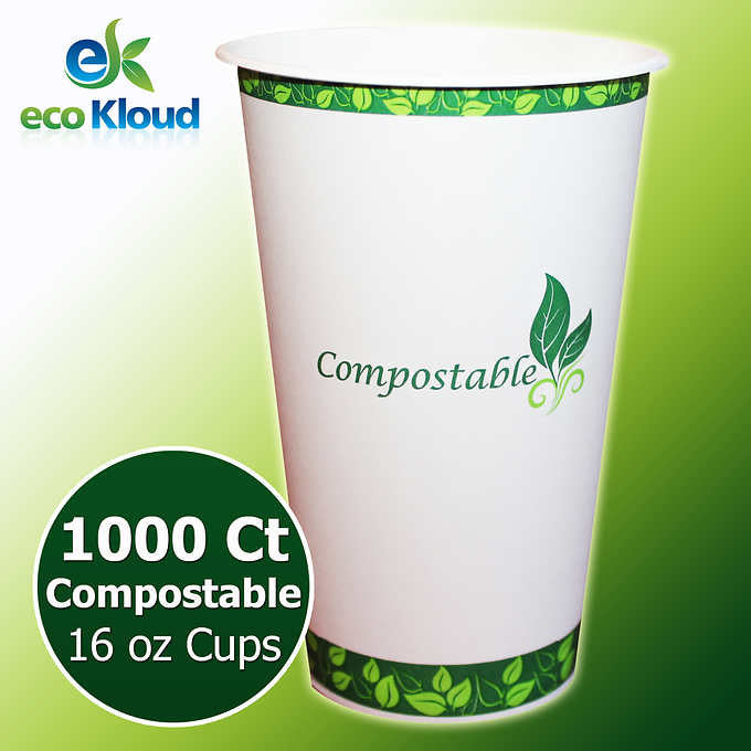 Eco Kloud 16 oz Hot & Cold Compostable PLA Paper Cups 1000 ct
