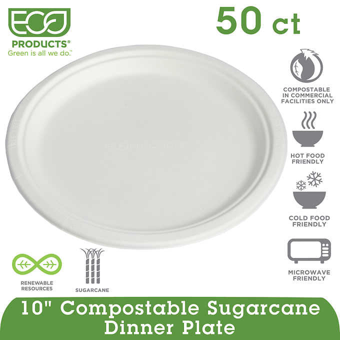"Eco-Products Compostable Plate 10"" White 50ct"