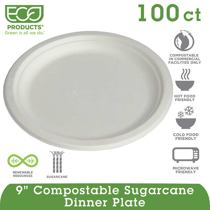 "Eco-Products Compostable Plate 9"" Natural White 100ct"