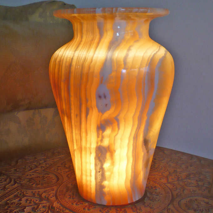 Hand Carved Dynasty Egyptian Alabaster Lamp