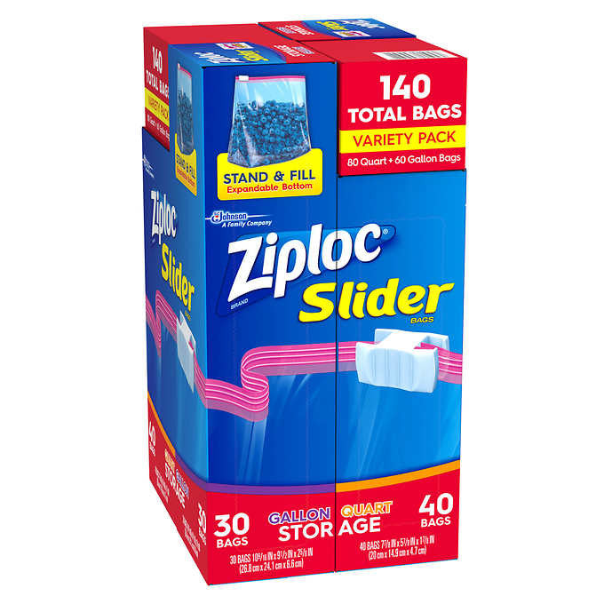 Ziploc EZ Zipper Mixed Pack 80 Quart, 60 Gallon, 140 Bags Total