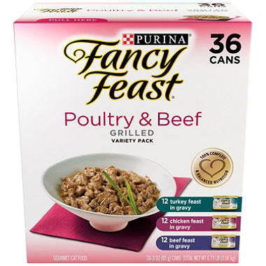 Fancy Feast Grilled Poultry & Beef, Variety Pack (3 oz., 36 ct.)