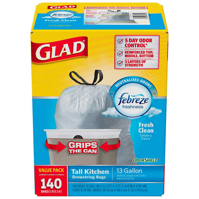 Glad OdorShield Tall Kitchen Trash Bags 13gal Fresh Clean Scent 140ct