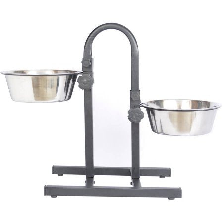 Iconic Pet Adjustable Stainless Steel Pet Double Diner For Dog (U Design) Choose your size
