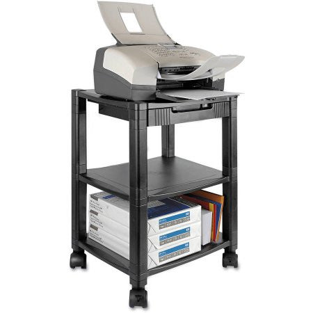 "Kantek Mobile Printer Stand, Three-Shelf, 17"" x 13-1/4"" x 24-1/4"", Black"