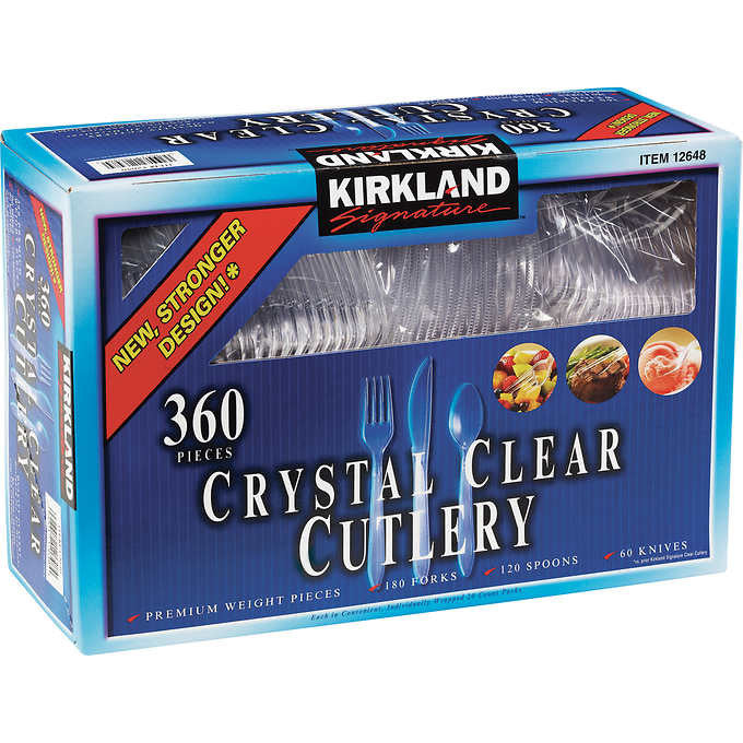 Kirkland Signature Crystal Clear Cutlery 360 Count Box