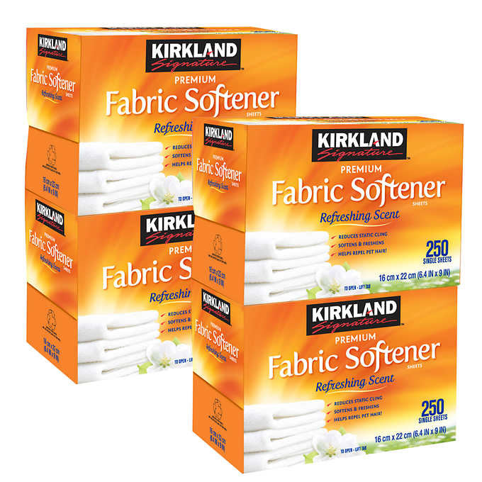 Kirkland Signature Fabric Softener Sheets 250 Count Box 4-pack