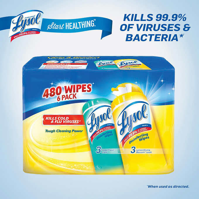 Lysol® Disinfecting Wipes Lemon & Fresh Scents 80 Wipes 6ct