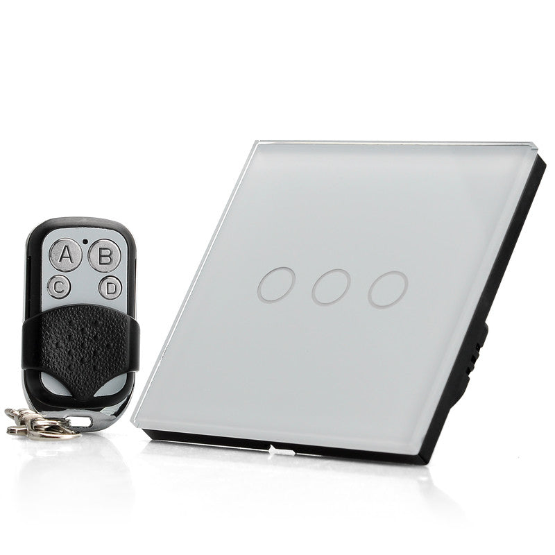 Touch Sensitive Light Switch - 3 Gang, LED Indicator, Mini Remote Control, Maximum 2000W Load