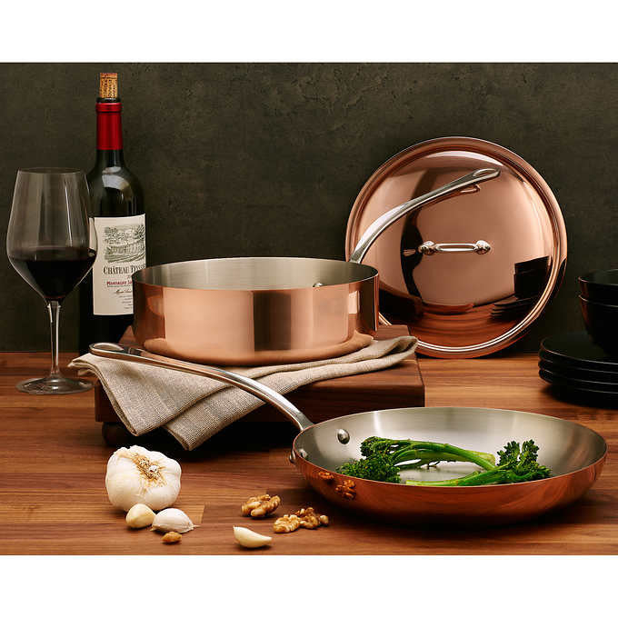 Mauviel M'Heritage Copper with Stainless Steel Interior 3pc Cookware Set