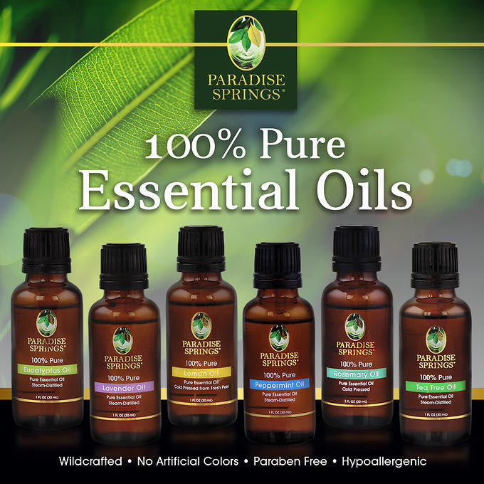 Paradise Springs Essential Oils Kit, 6 Oils, 1 oz. each