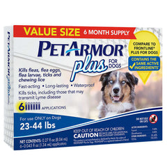 PetArmor Plus For Dogs 23-44 lbs, 3 Month Application 2-count, 6 Month Total