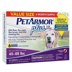 PetArmor Plus For Dogs 45-88 lbs, 3 Month Application 2-count, 6 Month Total