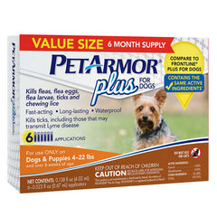 PetArmor® Plus Flea Tick and Lice Formula for Dogs 4-22 lbs, 6-Month Total Coverage