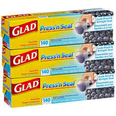 Glad Press 'N Seal Food Wrap, 3-Pack