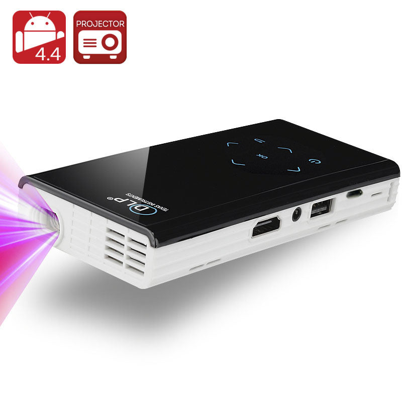 120 Lumen Mini Android DLP Projector - Quad Core 1.4 GHz CPU