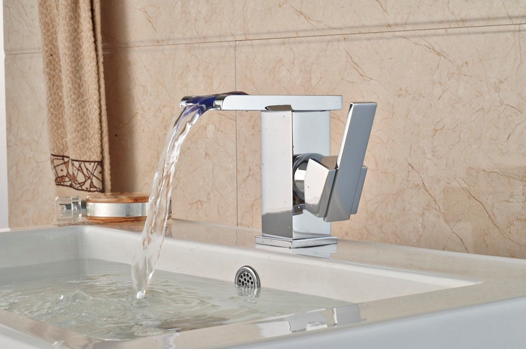 Waterfall LED Chrome Bathroom Single Handle Basin Sink Mixer Tap Brass Faucet A023