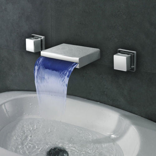 Wall Mounted LED Waterfall 3pcs Bathroom Basin Faucet Mixer Tap A008