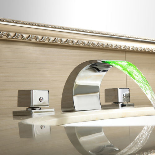 LED Waterfall Sink Faucet Set A016