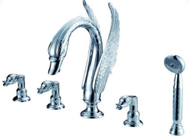Triple Handle Swan Bathtub Faucet In Silver