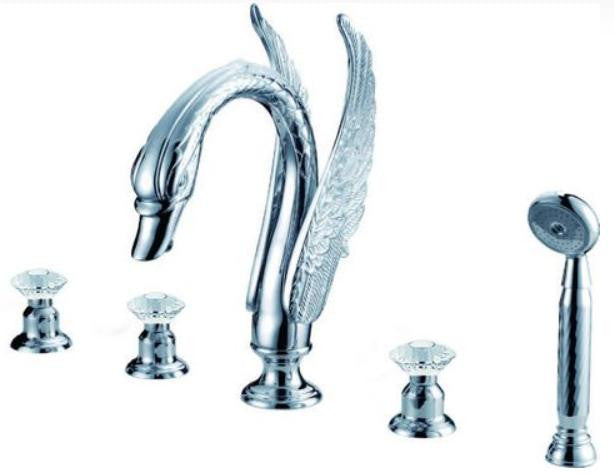 Triple Handle Swan Bathtub Faucet In Silver and Crystal