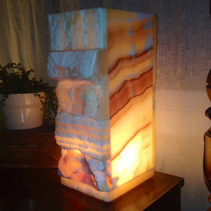 Hand Carved Sakara Egyptian Alabaster Lamp