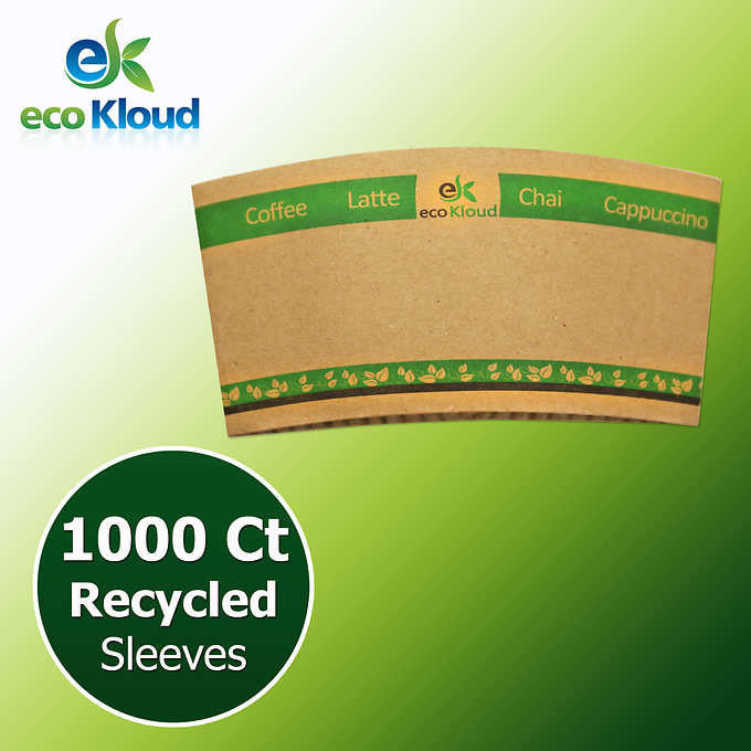 eco Kloud Recycled Paper Sleeves for 12 & 16 oz Hot Cups - 1000 count