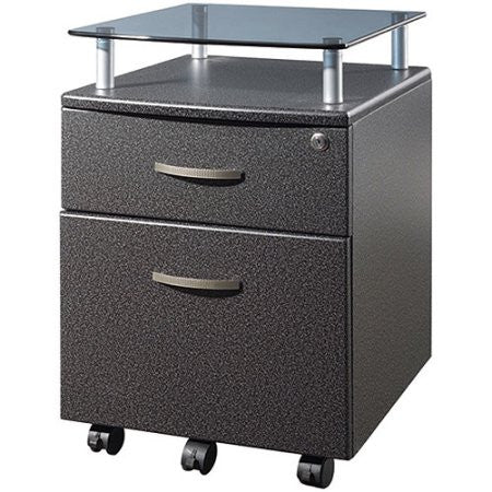 Techni Mobili Rolling File Cabinet with Glass Shelf, Graphite