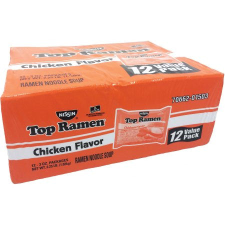 Nissin Top Ramen Chicken Flavor Ramen Noodle Soup, 3 oz (12, 24 or 36 ct)
