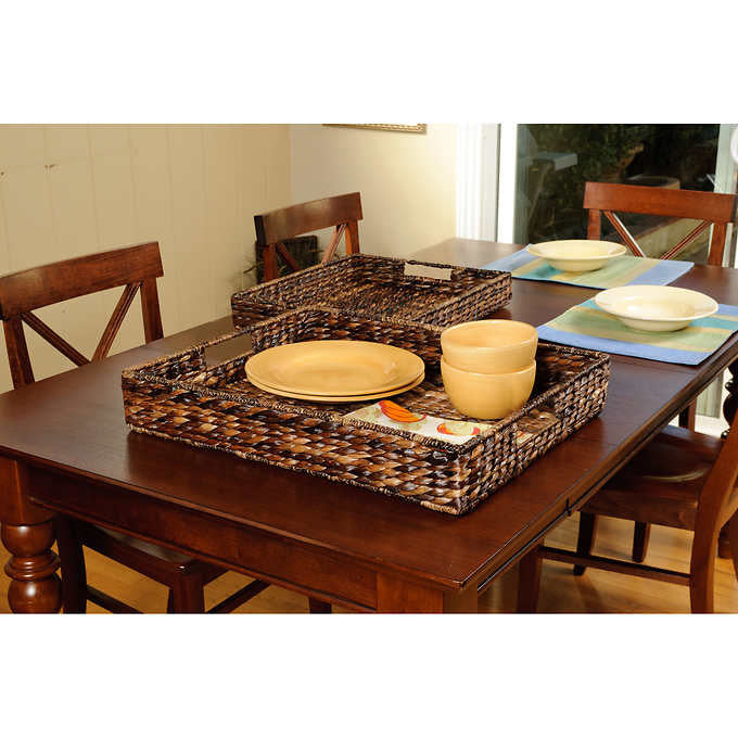 Sofia and Sam 2-piece Abaca Serving Trays