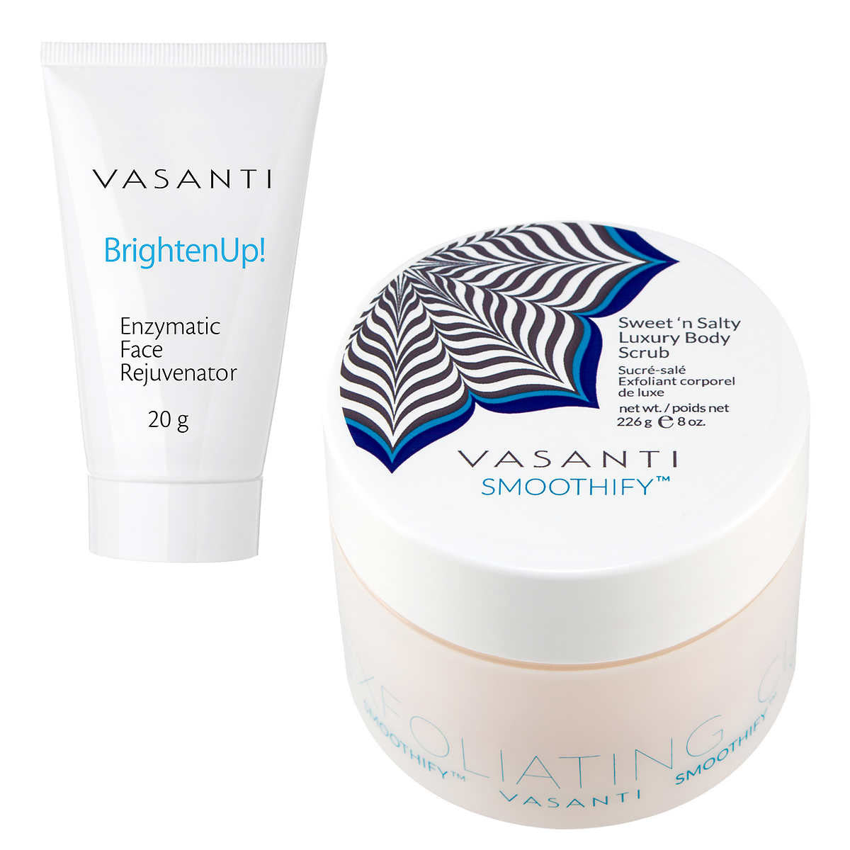 Vasanti Smoothify Sweet 'n Salty Luxury Body Scrub 220 g and BrightenUp! Exfoliating Cleanser 20 g
